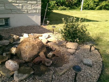 Freestanding rock walls and Stone pathways